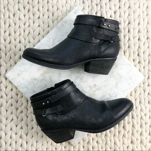 Clarks Black Buckle Strap Block Heeled Ankle Boots